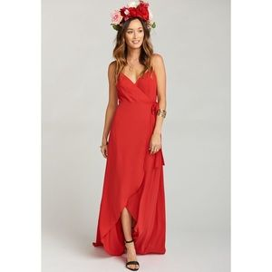Show Me Your Mumu Mariah Wrap Dress Red Crisp XS